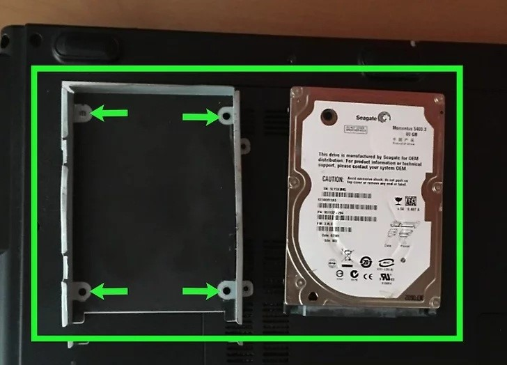 How to remove the hard disk from a laptop